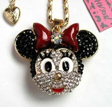 Betsey Johnson Brilliant crystal Cute Cartoon Mouse pendant Necklace#880L
