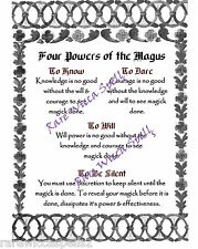 Four Powers of the Magus  Wicca Book of Shadows Spell page on Parchment