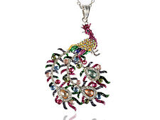 Rainbow Pastel Colorful Crystal Rhines Phoenix Peacock Bird Pendant Necklace USA