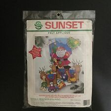 Sunset Santa & Reindeer Felt Appliqué Stocking Kit 18034 New Christmas Holiday