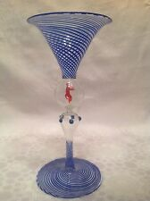 RARE WERKSTATTE MATCHING BLUE SWIRL BIMINI WINE GLASS DOUBLE BUBBLE DOTS RED CAT