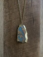 Panacea, Long Stone Pendant Necklace With Gold leaf