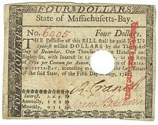 Colonial Massachusetts $4 Spanish Milled Dollars May 5,1780 Frm281 Currency Gift