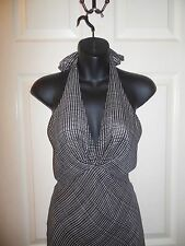 DKNY BLACK & WHITE 100% SILK HALTER DRESS SIZE 2