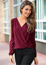 Fashion Women V-neck Tops Tee Long Sleeve Shirt Casual Blouse Loose T-shirt S