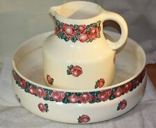 RARE  Antique Wash Basin & Pitcher from Villeroy & Boch Niemeyer Mettlach Roses
