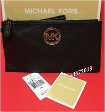 NEW MICHAEL KORS FULTON LG CLUTCH/WALLET/WRISTLET LEATHER ZIP BAG BLACK