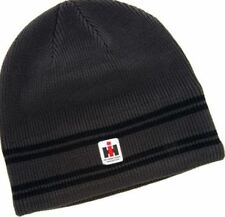 IH Woven Label Striped Charcoal Beanie