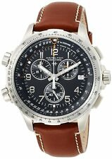Hamilton Khaki Aviation X-wind Chrono Gmt Brown Leather Band Men Watch H77912535