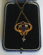 Art Nouveau rolled gold amythist purple paste heart seed pearl pendent necklace