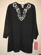 Lovely Cathy Daniels Black Stretch Knit Top White  Embroid  Front  2X  NWT $56