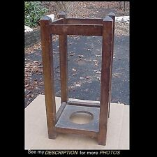 Antique Oak Arts & Crafts Mission Umbrella Holder Stand Stickley Era