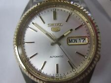 SEIKO 5 MEN'S WATCH AUTOMATIC ALL S/S TWO TONE ORIGINAL JAPAN SNXJ92 NEW