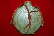 Vintage Frankoma Canteen Style Pottery Rawhide Leather Strap Green Free Ship
