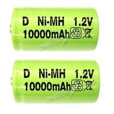 2 x D size 10000mAh 1.2V NiMH Ni-MH Rechargeable LR20 Battery Green New