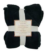 "3494 Reversible Sherpa/ Microplush Throw Blanket- 50""x 60""- Black/Black"