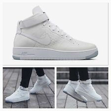 BNIB Mens UK 8 Nike AF1 Ultra FlyKnit Mid Trainers Whiteout Air Force 1 - 817420