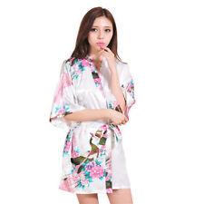 Vestido de noche Moda Mujer Dama De Honor Novia Pavo real corto Kimono Bata Satén Vestido
