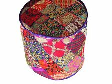Bohemian Embroidered Round Pouf Floor Seat Cover - Traditional Large Ottoman 18""