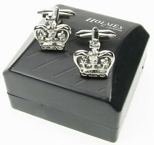 MENS CUFF LINKS NOVELTY ROYAL CROWN KING QUEEN XMAS GIFT BNIB NEW UK FREE P&P