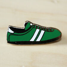 GREEN & WHITE ENAMEL TRAINER STYLE BADGE - FOOTBALL & RUGBY FANS - HIBS COLOURS