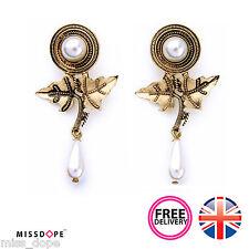 Nuevo Pera Gota Pendientes de Perlas de hojas de oro para mujeres damas stud declaración vintage UK