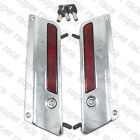 Hot Sale Metal Chrome Saddlebag Latch Cover Red Reflectors Lock& Key For Touring