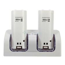Dual Charger Station and 2x Battery Twin Dock for Nintendo WII Remote White UK