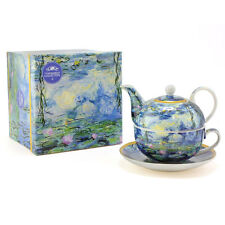 Water Lily Blue Tea Set For One Tea Pot Cup Saucer Boxed