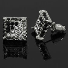 Mens Silver & Black Cz Cube Iced Out Hip Hop Micro Pave Stud Earrings Bling