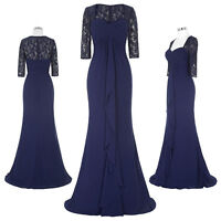 Bridesmaids Wedding Chiffon Ball Gown Evening Prom Party Dress Elegant Navy Blue