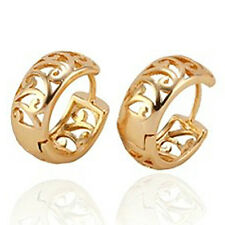 Fashion Yellow Gold Filled Openwork Womens small Cute Ear Hoop Earrings LOT Gift