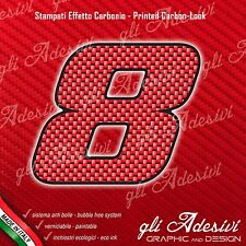 Adesivo Stickers NUMERO 8 moto auto cross gara Carbon Effect Red 10 cm