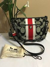 Coach Hampton Weekend Signature Stripe Hippie Black/Red Cross Body Bag 22418M