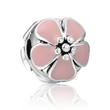 Fine European Clip Bead Pink Flower 925 Sterling Silver Charm For Bracelet Chain