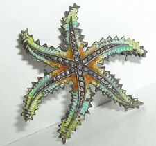 Vintage Sterling Silver Alice Caviness Starfish Enamel Pin Marcasite Germany