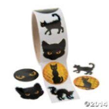 Halloween Black Cat Round Sticker Roll (100)