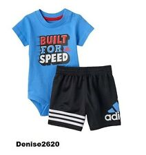 "Baby Boy Adidas ""Built for Speed "" Tee & Shorts Set Size 9 Months NWT"