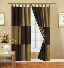 Micro Suede 4pcs Mocha Brown Patchwork Tab Top Lined Panels Window Curtain Set