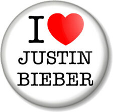 "I Love / Heart JUSTIN BIEBER 25mm 1"" Pin Button Badge Singer Pop Star Fan Fever"