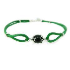 Bracciale verde portafortuna Su Coccu cordino finali argento con sfera in onice