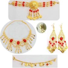 Belly Indian Dance Jewelry Set Coin Bead Head Band Necklace Earring Nose Chain