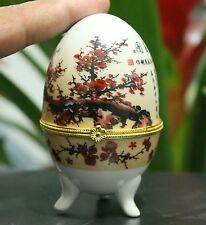 Chinese White Porcelain Plum Blossom Poetry Rotundity Woman female Jewelry Box
