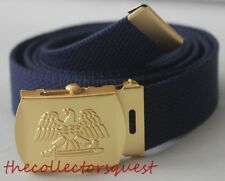 "NEW GOLD EAGLE ADJUSTABLE 42"" INCH NAVY CANVAS MILITARY GOLF WEB BELT BUCKLE"
