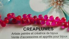 Lot de 50 perles mini goutte rose fushia 6 X 4mm