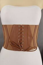 Women Wide Corset Fashion Belt Stretch Fabric High Waist Mocha Brown Size S M