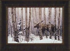A WALK IN THE WOODS by Stephen Lyman 17x23 FRAMED PRINT PICTURE Bull Moose Snow
