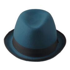 Vintage Unisex Hard Felt Fedora Trilby Hat Bowler Derby Cap Upturned Brim Size L
