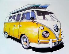"""��Large A4 """"VW campervan"""" Image printed on.  White cotton fabric 100% WASHABLE*"""