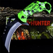 ZOMBIE HUNTER KARAMBIT Green Biohazard SPRING ASSIST OPEN Pocket Folding KNIFE